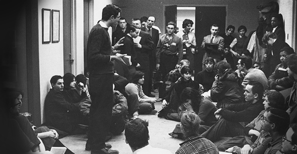 Bernie Sanders speaks to protesters during the Committee on Racial Equality's sit-in of the Administration Building in 1962.